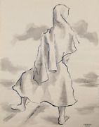 Laurent Marcel Salinas Bedouin Woman 337 Wash And Ink On Paper Signed L.r.