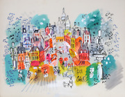 Charles Cobelle View Of Montmartre Acrylic On Paper Signed L.r.