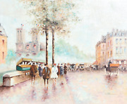 Paul Romain Paris Streets With Notre Dame Acrylic On Canvas On Wood Signed L.