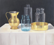 András Gombár, Pitcher With Water Vessels Still Life, Oil On Canvas On Wood, Sig