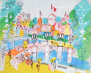 Charles Cobelle Pantheon And Notre Dame From Bridge Acrylic On Canvas Signed