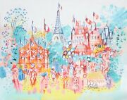 Charles Cobelle Paris Carnival With Carousel Acrylic On Canvas Signed L.r.