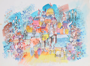 Charles Cobelle Paris From The Bridge With French Flags Acrylic On Paper Sign