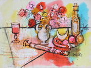 Charles Cobelle Still Life With Wine And Recorder Acrylic On Paper Signed L.r
