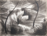 Laurent Marcel Salinas Landscape With Trees 390 Wash And Ink On Paper Signed