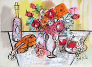 Charles Cobelle Still Life With Violin And Flowers 3 Acrylic On Paper Signed