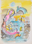 Charles Cobelle Seascape With Mermaid And Fish Acrylic On Paper Signed L.r.