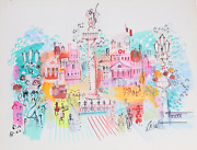 Charles Cobelle Place Vendandocircme 9 Acrylic On Paper Signed L.r.