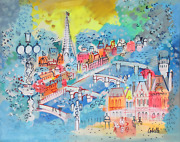 Charles Cobelle View Of Paris Bridges With Eiffel Tower Acrylic On Canvas Sig