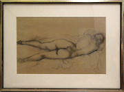 Emil Ganso Reclining Nude In Heels Charcoal And Pencil On Paper Signed L.r.
