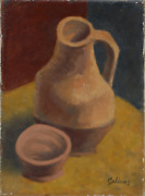 Laurent Marcel Salinas Pitcher And Cup 647 Oil On Canvas Signed L.r.