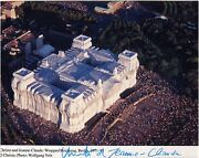 Christo And Jeanne-claude Wrapped Reichstag Photograph Signed In Marker By Ch