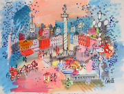 Charles Cobelle Panorama Of Place Vendome Acrylic On Paper Signed L.r.