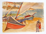 Charles Levier Large Sailboats On Shore Ii Watercolor On Paper Signed L.r.