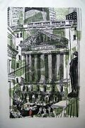 Ted Davies New York Stock Exchange Woodcut Signed In Pencil