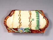 French Footed Majolica Asparagus Serving Platter Tray Late 1800's Antique France