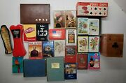 Vintage Playing Card Collection 26 Decks Wooden Holder Poker Chips