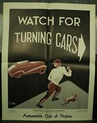 Automobile Club Of Virginia Vintage Old School Traffic Safety Poster 1948