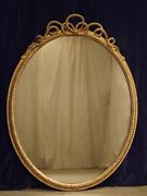 Very Large Antique Oval Rope Twist Gilt Wall Mirror C1860