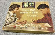Vintage Paint By Number Kit - Craftint Picturecraft 300- Set Of 2 Panels 12x16