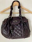 Authentic Moschino Muffin Handbag, Beautiful Eggplant Color Leather,vintage,