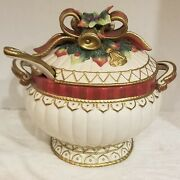 Fitz And Floyd Christmas Deer Soup Tureen Bowl Retired Gorgeous Fandf