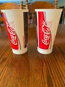 2 Vintage 1988 Large Coca Cola Plastic Cups Glasses Thunderdome Never Used