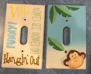 2 Light Switch Plate Covers Monkey See Monkey Do Hangin' Out Funny Wild Kids