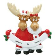 Personalized Christmas Tree Ornament - Moose Couple - Family Of 2 - Holiday Gift