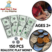 Life Size Play Money Plastic Coins Pennies Pretend Us Dollar Bills Counting Toys