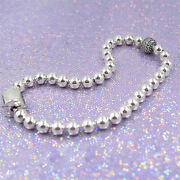Authentic 100 925 Sterling Silver Beads And Pave Cz Logo Clasp Bracelet
