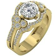 Designer I1 G 2.21 Ct Natural Diamond Solitaire Engagement Ring 14k Yellow Gold