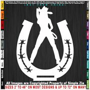 - Cowgirl Sexy Girl Horseshoe With Rope Cowboy Horse Country Girl Sticker Decal