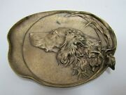 Hunting Dog In Brush Antique Bronze Decorative Arts High Relief Tray Ornate 3261