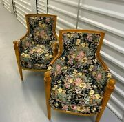 Set Of Two Wooden Antique Chairs - Floral Patterns Local Pickup Only