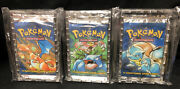 New Sealed 1999 Pokemon Base Set Booster 3 Packs 1 Heavy Unlimited Pack Wotc