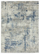 Blue Static Faded Distressed Vintage Contemporary Area Rug Abstract 4535 10360