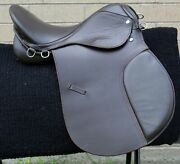 Used Brown English Leather Horse Saddle All Purpose Close Contact Show 16 17 18
