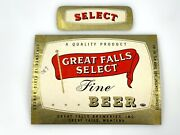Vintage Beer And Neck Label Great Falls Breweries Select Montana Fine Beer