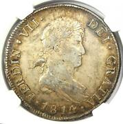 1814-so Fj Chile Ferdinand Vii 8 Reales Coin 8r - Certified Ngc Au50 - Rare
