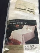 Vintage Sears Woven Matelasse Style Bedspread Full Size Princess Anne Nos White