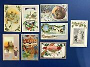 8 Nice Christmas Antique Postcards Silver Trim. Collector Items W Value