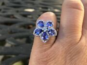 Colleen Lopez Star Light 2.22ct Tanzanite White Topaz Sterling Floral Ring