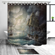 Sailboat And Lighthouse Shower Curtain Bathroom Decor Fabric And 12hooks 71in