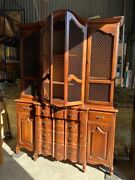 Large Great Condition Vintage China Hutch Secretary Desk Leather Gold Gilding