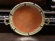 Vintage Czech Reticulated Glazed Porcelain Plate Brass Jeweled Frame And Handles
