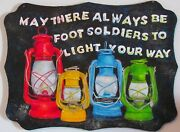 Painting On Wood Vintage Oil Lanterns And Quote Red Green Yellow Blue Foot Soldier