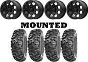 Kit 4 Sti Roctane Xd Tires 30x10-14 On Msa M44 Cannon Beadlock Black Wheels Pol
