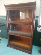 Vintage 3 Stack Grand Rapids Michigan Oak Barrister Bookcase With Top And Base