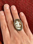 Rare 1800and039s Vintage Flowing Lady/aphrodite Cameo Ring Fits Size 7.5-7.75